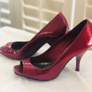 BCBG Ruby Patent Leather Peep Toe Heels